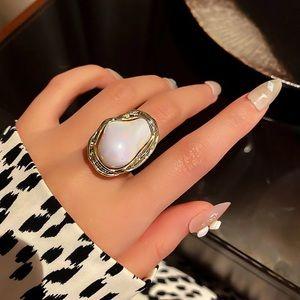 Stunning Baroque Imitation Pearl Adjustable Ring